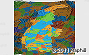 Political Panoramic Map of Sagaing, darken