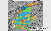 Political Panoramic Map of Sagaing, desaturated