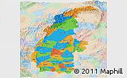 Political Panoramic Map of Sagaing, lighten