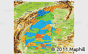 Political Panoramic Map of Sagaing, physical outside