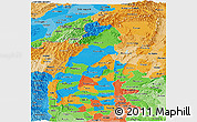 Political Panoramic Map of Sagaing, political shades outside