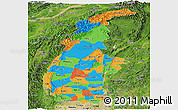 Political Panoramic Map of Sagaing, satellite outside