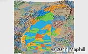 Political Panoramic Map of Sagaing, semi-desaturated