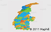 Political Panoramic Map of Sagaing, single color outside