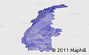 Political Shades Panoramic Map of Sagaing, cropped outside