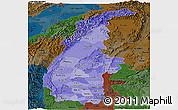 Political Shades Panoramic Map of Sagaing, darken