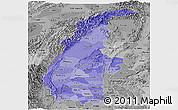 Political Shades Panoramic Map of Sagaing, desaturated