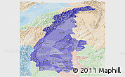 Political Shades Panoramic Map of Sagaing, lighten
