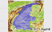 Political Shades Panoramic Map of Sagaing, physical outside