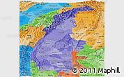 Political Shades Panoramic Map of Sagaing