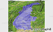 Political Shades Panoramic Map of Sagaing, satellite outside