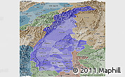 Political Shades Panoramic Map of Sagaing, semi-desaturated