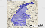 Political Shades Panoramic Map of Sagaing, shaded relief outside