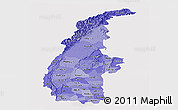 Political Shades Panoramic Map of Sagaing, single color outside