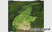 Satellite Panoramic Map of Sagaing, darken