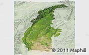 Satellite Panoramic Map of Sagaing, lighten