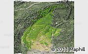 Satellite Panoramic Map of Sagaing, semi-desaturated