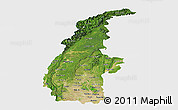 Satellite Panoramic Map of Sagaing, single color outside
