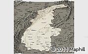 Shaded Relief Panoramic Map of Sagaing, darken