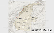 Shaded Relief Panoramic Map of Sagaing, lighten