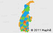 Political Simple Map of Sagaing, single color outside