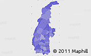 Political Shades Simple Map of Sagaing, single color outside