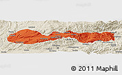 Political Panoramic Map of Hsenwi, shaded relief outside