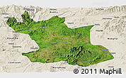Satellite Panoramic Map of Hsipaw, shaded relief outside
