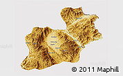 Physical 3D Map of Keng Tung, cropped outside