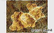 Physical 3D Map of Keng Tung, darken