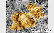 Physical 3D Map of Keng Tung, desaturated