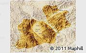 Physical 3D Map of Keng Tung, lighten