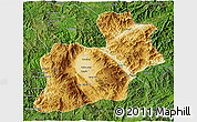 Physical 3D Map of Keng Tung, satellite outside