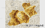 Physical 3D Map of Keng Tung, shaded relief outside
