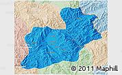 Political 3D Map of Keng Tung, lighten