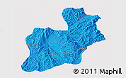 Political 3D Map of Keng Tung, single color outside