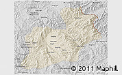 Shaded Relief 3D Map of Keng Tung, desaturated