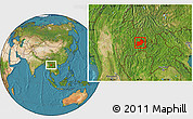 Satellite Location Map of Keng Tung