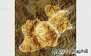 Physical Map of Keng Tung, darken