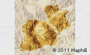 Physical Map of Keng Tung, lighten