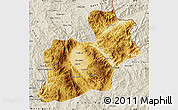 Physical Map of Keng Tung, shaded relief outside