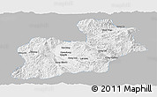 Gray Panoramic Map of Keng Tung, single color outside