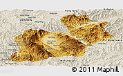 Physical Panoramic Map of Keng Tung, shaded relief outside