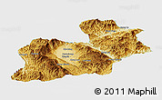 Physical Panoramic Map of Keng Tung, single color outside
