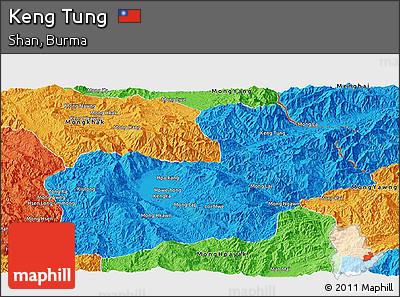 Political Panoramic Map of Keng Tung
