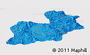 Political Panoramic Map of Keng Tung, single color outside