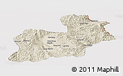 Shaded Relief Panoramic Map of Keng Tung, cropped outside