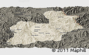 Shaded Relief Panoramic Map of Keng Tung, darken