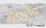 Shaded Relief Panoramic Map of Keng Tung, desaturated