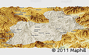 Shaded Relief Panoramic Map of Keng Tung, physical outside